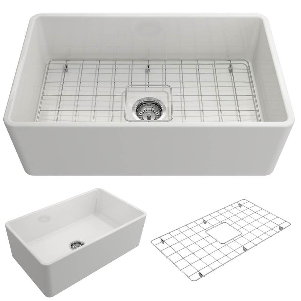 Bocchi Classico Farmhouse Apron Front Fireclay 30 in. Single Bowl Kitchen Sink w/Grid and Strainer in White
