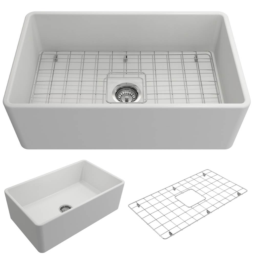 Bocchi Classico Farmhouse Apron Front Fireclay 30 in. Single Bowl Kitchen Sink w/Grid and Strainer in Matte White