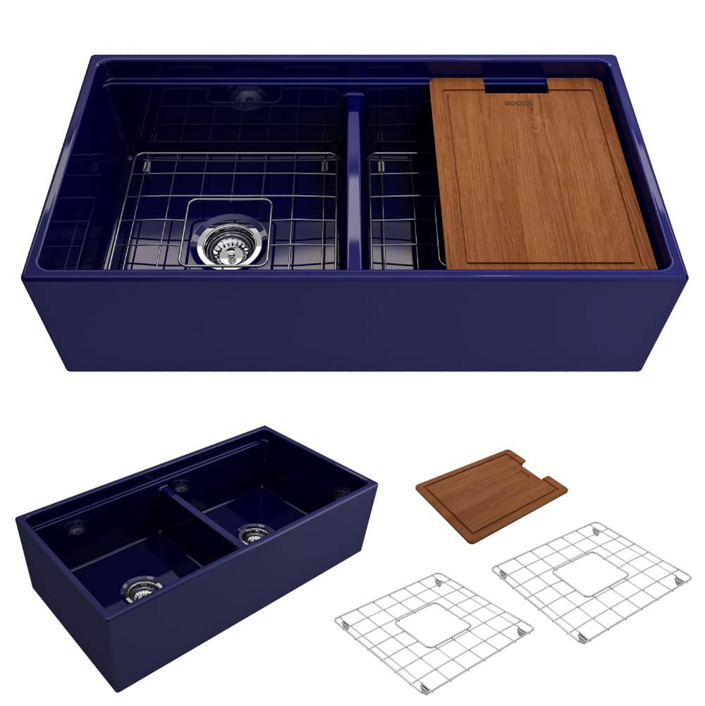 Bocchi Contempo Apron Front Step Rim with Integrated Work Station Fireclay 36 in. Double Bowl Kitchen Sink with Accessories in Sapphire Blue