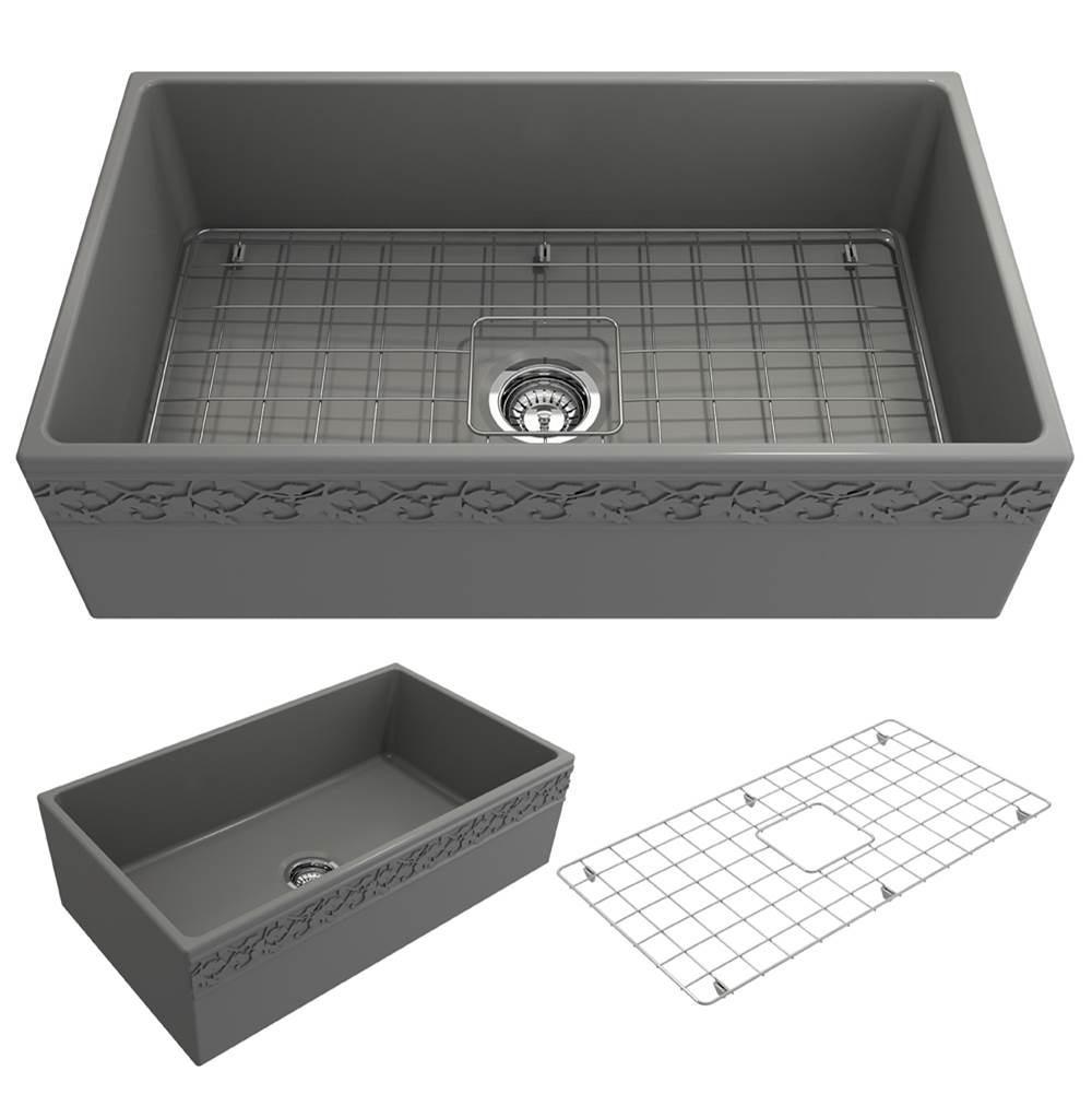 Bocchi Vigneto Apron Front Fireclay 33 in. Single Bowl Kitchen Sink w/Grid and Strainer in Matte Gray