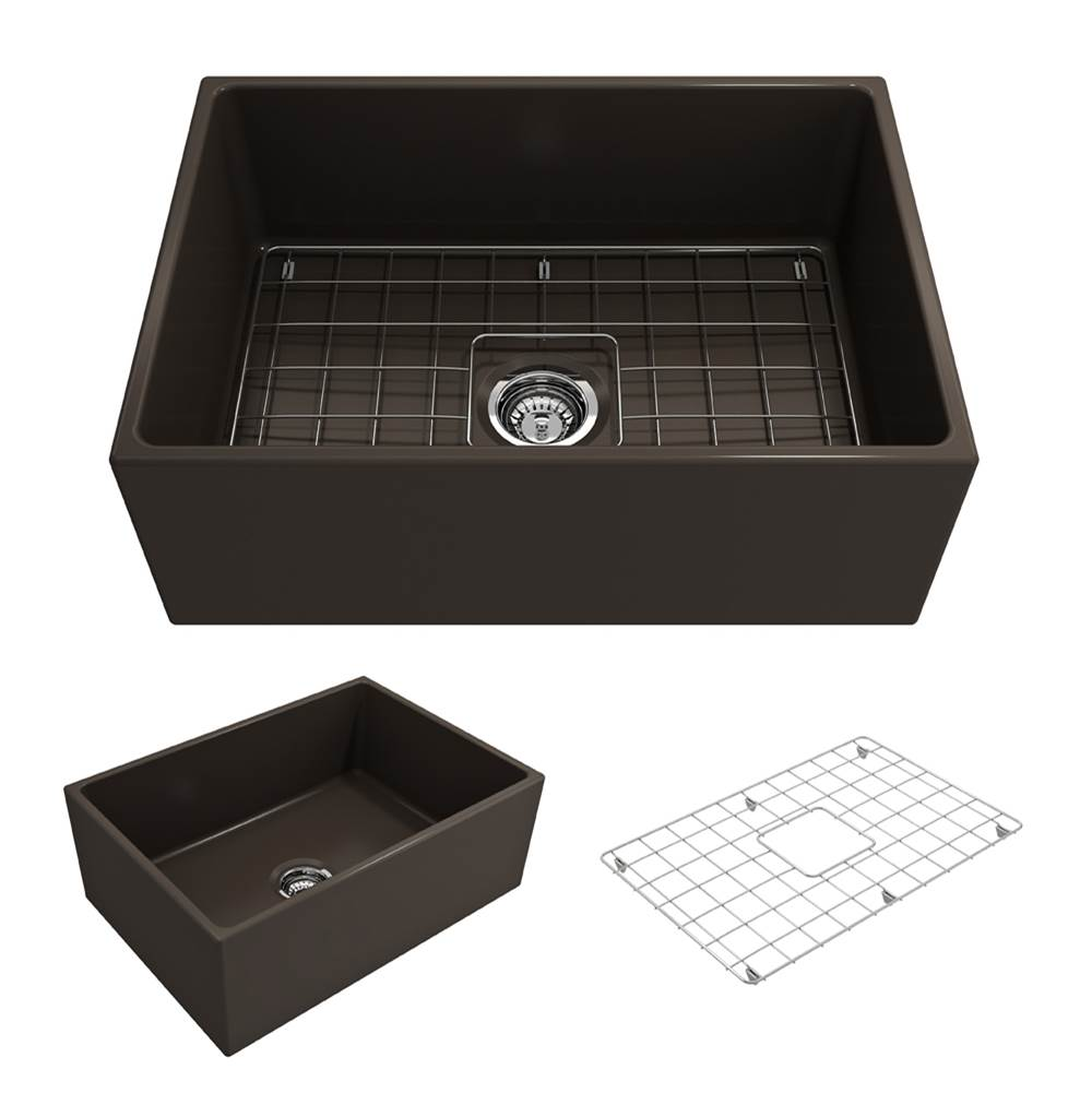 Bocchi Contempo Apron Front Fireclay 27 in. Single Bowl Kitchen Sink w/Grid and Strainer in Matte Brown