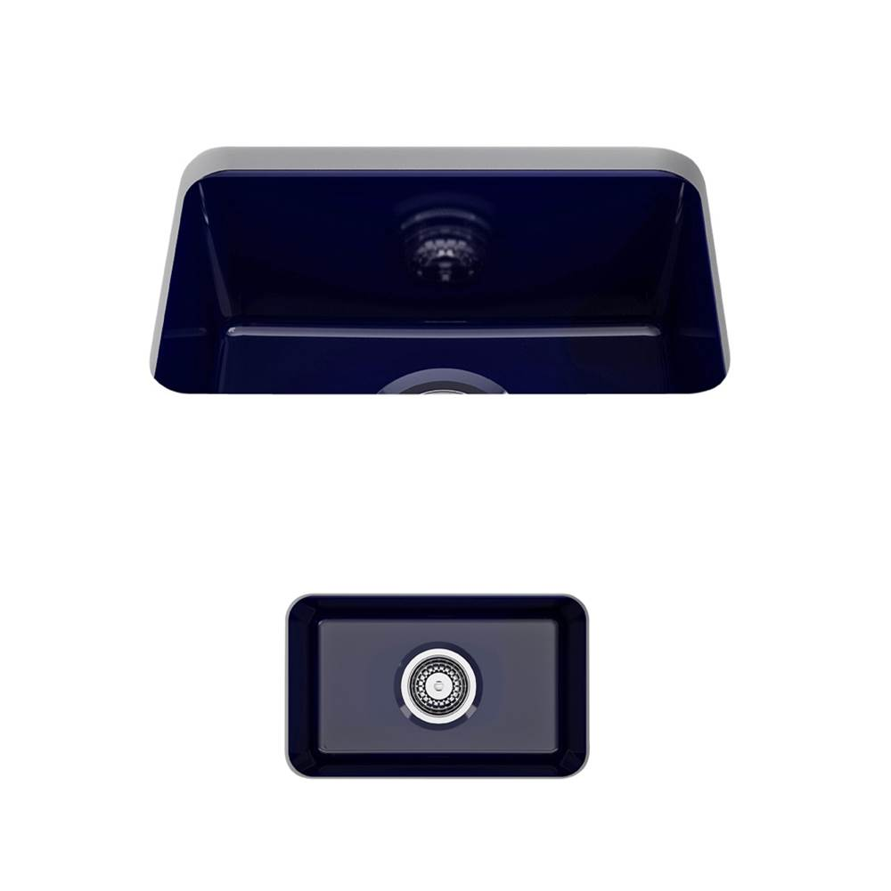 Bocchi Sotto Undermount Fireclay 12 in. Single Bowl Kitchen Sink with Strainer in Sapphire Blue
