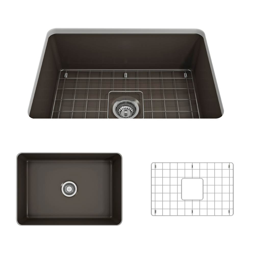 Bocchi Sotto Undermount Fireclay 27 in. Single Bowl Kitchen Sink w/Grid and Strainer in Matte Brown