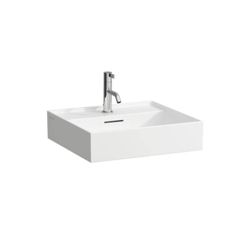Kartell By Laufen Washbasin, 500 x 460 x 120, with tap bank, without tap hole, with overflow slot, with standard outlet, SaphirKeramik