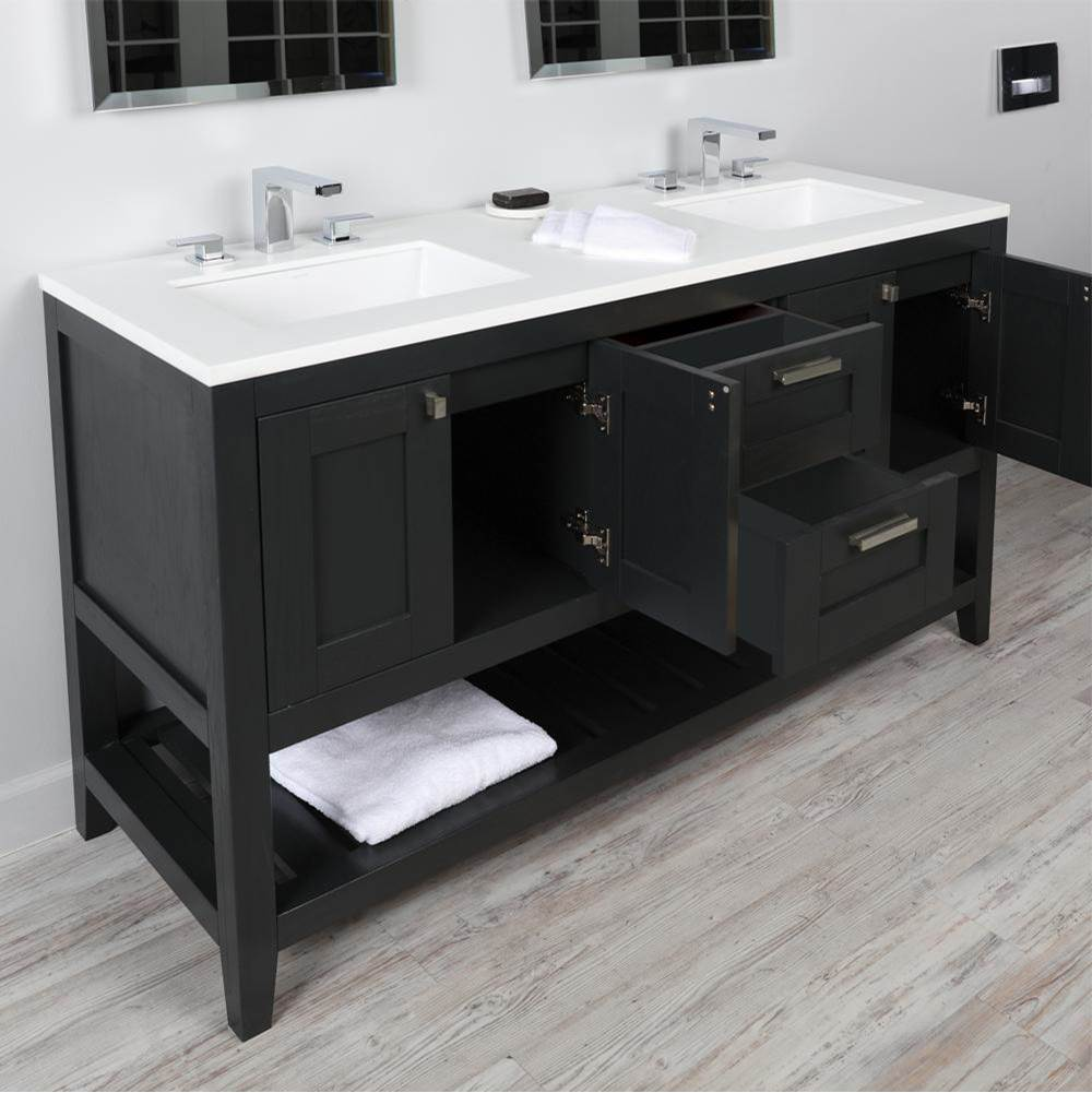 Lacava Free standing under-counter double vanity with two sets of doors(knobs included)on both sides , two drawers(knobs included) on the center and slotte