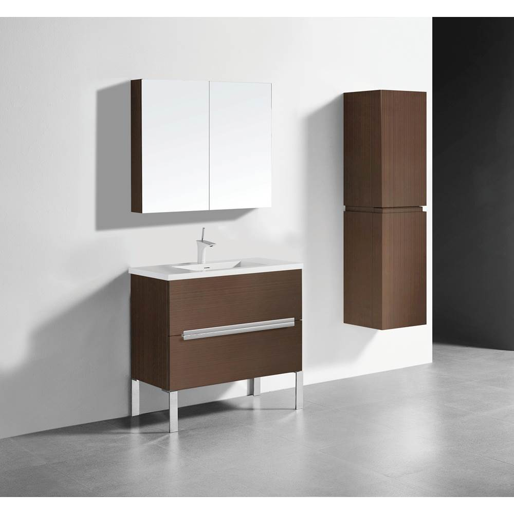 Madeli Madeli Soho 36'' Free standing Vanity Cabinet in Walnut/HW: Polished Chrome(PC)