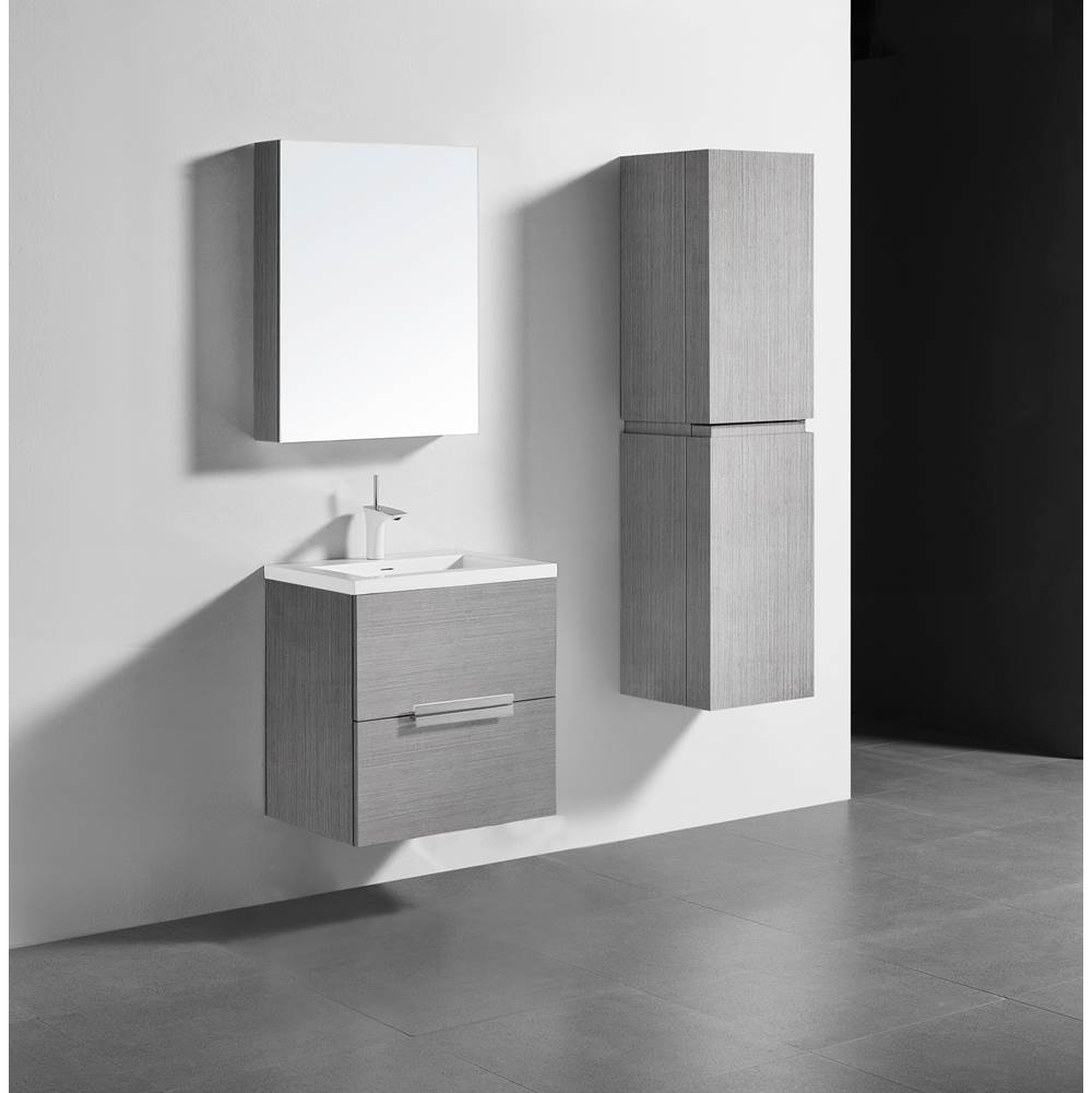 Madeli Madeli Urban 24'' Wall hung  Vanity Cabinet in Ash Grey Finish/HW: Polished Chrome(PC)