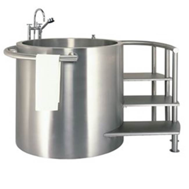 Neo-Metro meter 150 gallon stainless steel double wall soaking tub with integrated seat, removable staircase and entry platform