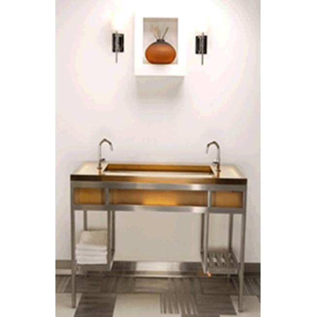 Neo-Metro ebb console, brushed stainless steel frame, Cloudnine (white) resin countertop, 14 X 14 deep brushed stainless steel basin, LED light system