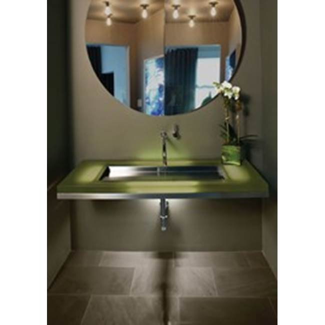 Neo-Metro wall mounted , brushed stainless steel frame, Skye (blue) resin countertop, 17 X 14 shallow brushed stainless steel basin, LED light system, residen