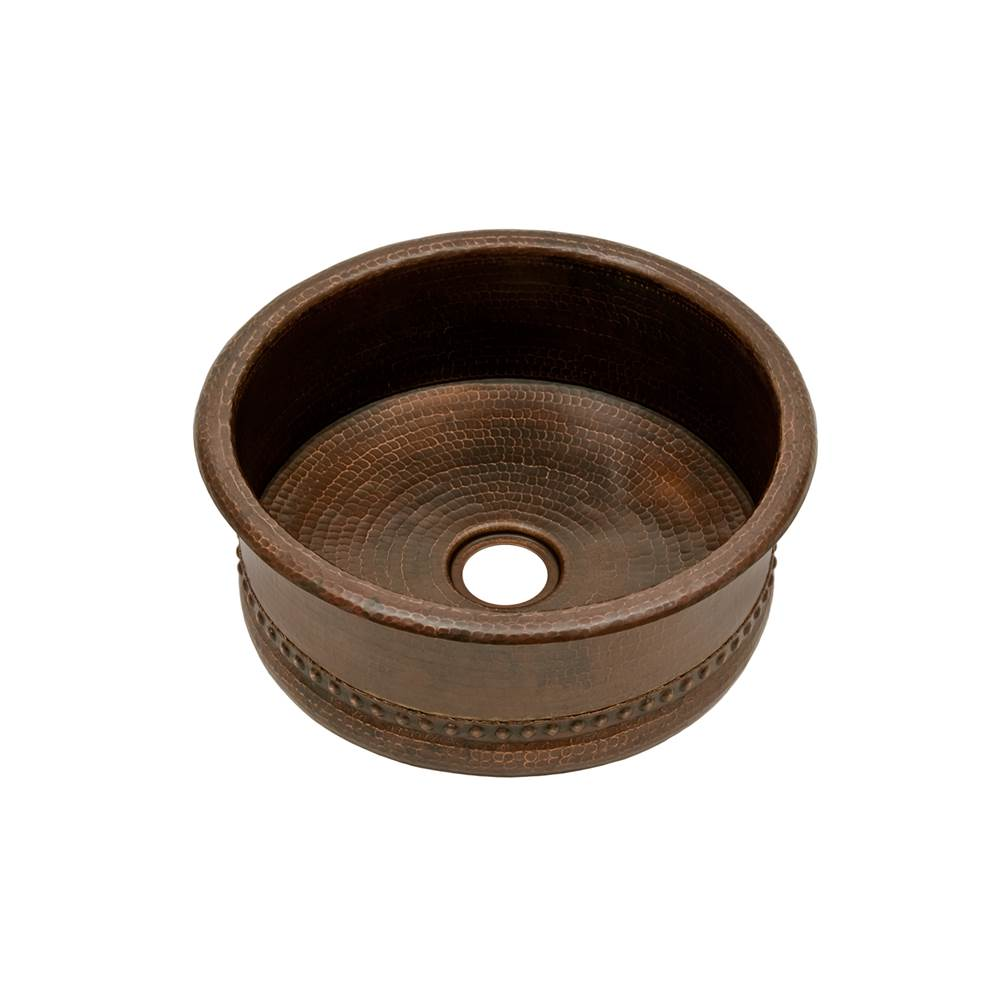 Premier Copper Products 15'' Round Bar Vessel Tub Sink w/ 2'' Drain Size