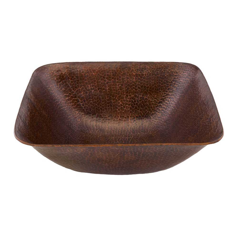 Premier Copper Products 14'' Square Vessel Hammered Copper Sink