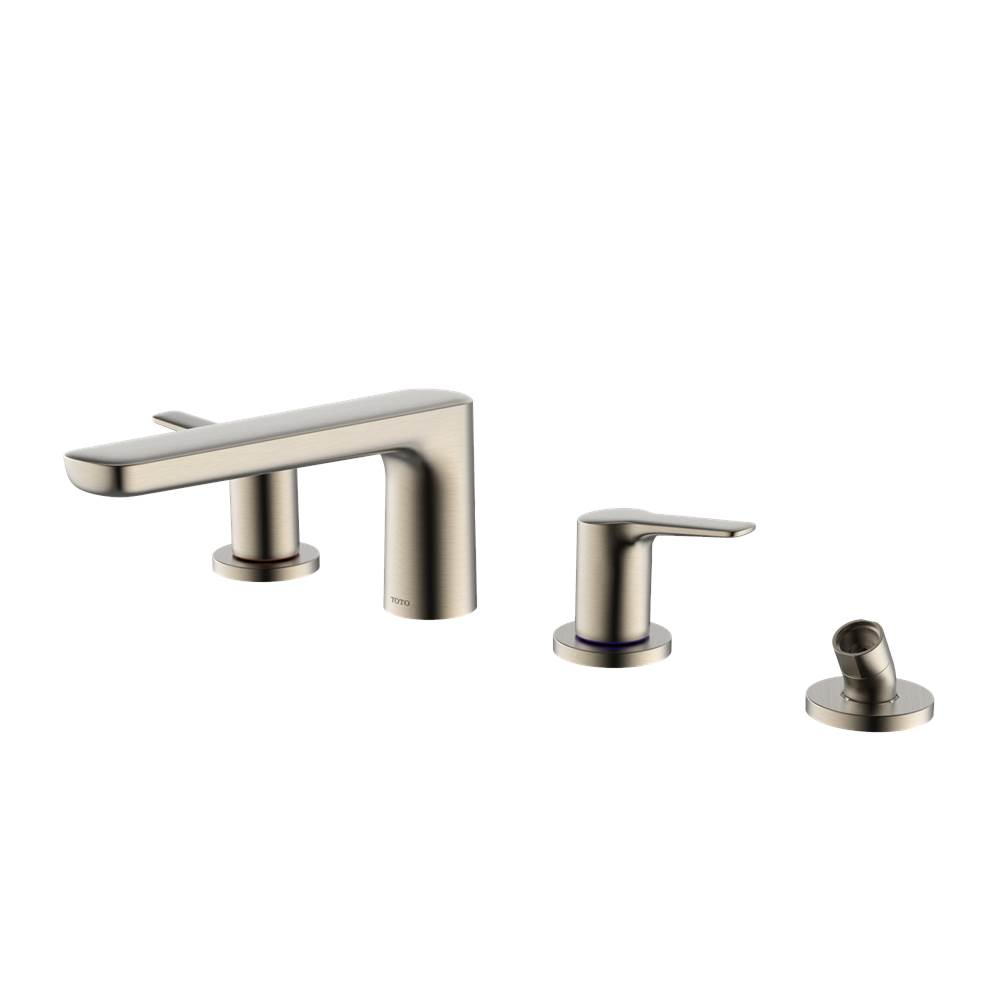 Toto GS Four-hole Deck-Mount Roman Tub Filler Trim with Handshower, Brushed Nickel