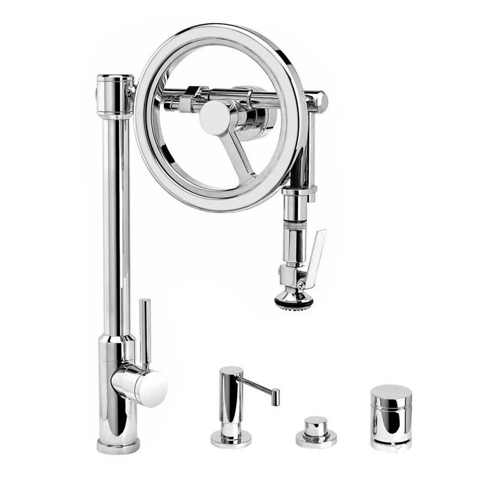 Waterstone Endeavor Wheel Pulldown Faucet - Lever Sprayer - 4Pc. Suite