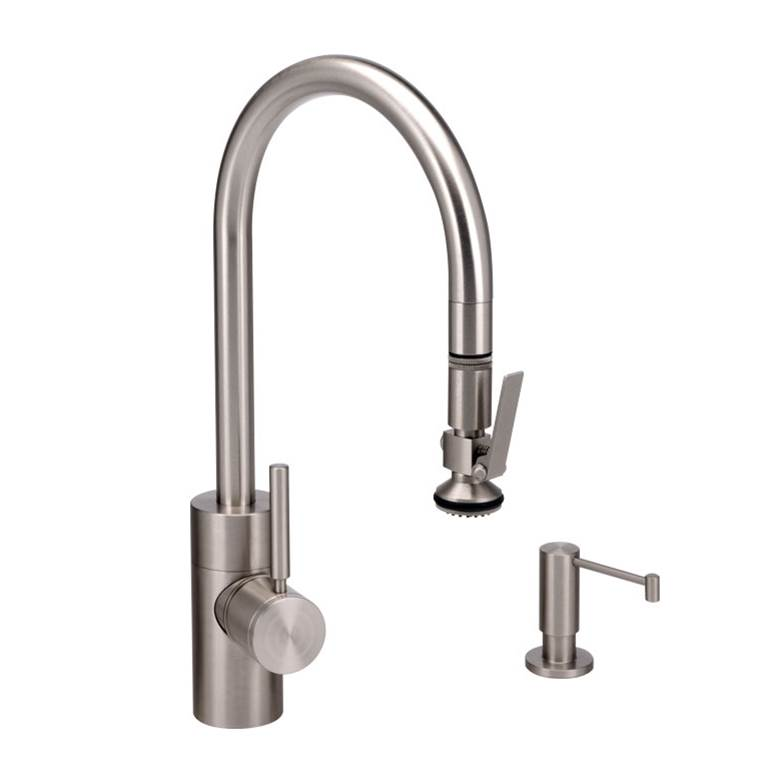 Waterstone Contemporary Plp Pulldown Faucet - Angled Spout - Lever Sprayer - 2Pc. Suite